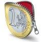 Euro coin with zipper