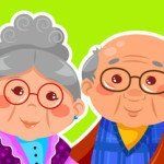 old couple hugging and smiling