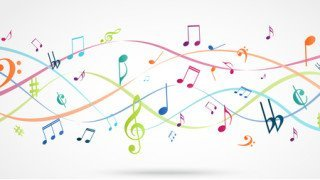 Abstract Background with Colorful Music notes