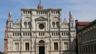 Great marble facade of the Church called Certosa di Pavia in Italy near Milan