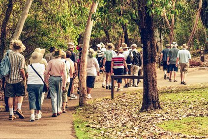 group of old and healthy people walking in the nature, vintage