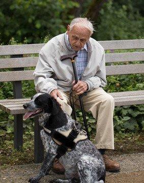 94 jähriger Rentner sitzt nachdenklich auf einer Parkbank Bank und streichelt seinen Hund
