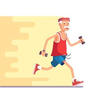 Fit elderly man jogging with dumbbells in hands. Flat style modern vector illustration.